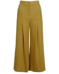 Pinstripe Cropped Wide Leg Trousers