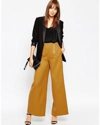 Asos Wide Leg Pants With Zipper Detail