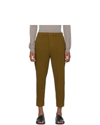 Homme Plissé Issey Miyake Yellow Wool Like Light Trousers
