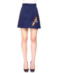 Christopher Kane A Line Mini Skirt Wsequin Tape Detail Navy