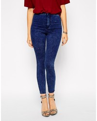Asos Collection Rivington High Waist Denim Ankle Grazer Jeggings In Mottled Acid Wash