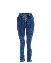 New Look Blue High Waisted Acid Wash Skinny Jeans