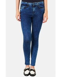 Topshop Moto Leigh Acid Wash Skinny Jeans