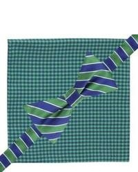 City of London Bow Tie And Pocket Square Set Green Checkstripe