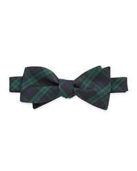 Neiman Marcus Tartan Plaid Bow Tie Green