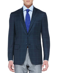 Navy and Green Check Blazer