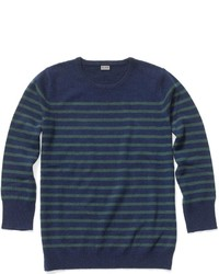 Navy and Green Crew-neck Sweater