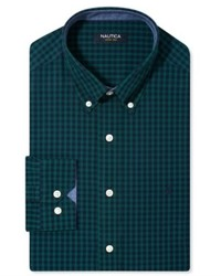 Nautica Dress Shirt Navy And Green Check Long Sleeved Shirt