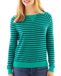 jcpenney Ana Ana Long Sleeve Striped Essential Crewneck Sweater Tall