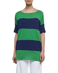 Joan Vass Striped Boxy Sweater Navyemerald