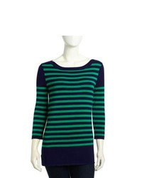 Neiman Marcus Woven Striped Sweater Navyseal