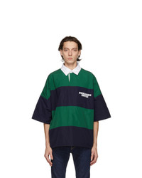 DSQUARED2 Navy And Green Rugby Polo