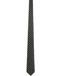 Gucci Green Navy Silk Interlocking G Chain Tie