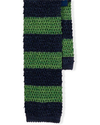Navy and Green Horizontal Striped Wool Tie