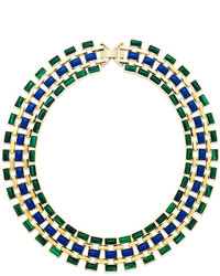 House Of Harlow Gold Tone Green And Blue Mosaic Collar Necklace