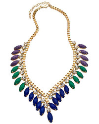 Blu Bijoux Gold With Crystal Purple Green And Blue Beads Contoured Bib Necklace