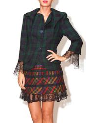 Patricia Del Castillo Ruffled Plaid Jacket
