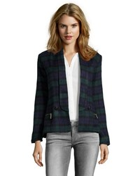 Storiesby Kelly Osbourne Green And Navy Plaid Button Front Jacket