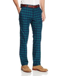 Haggar Vintage Slim Fit Flat Front Navy Plaid Pant