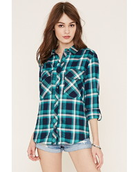 Button tab plaid shirt medium 453226