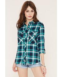 Button tab plaid shirt medium 453226