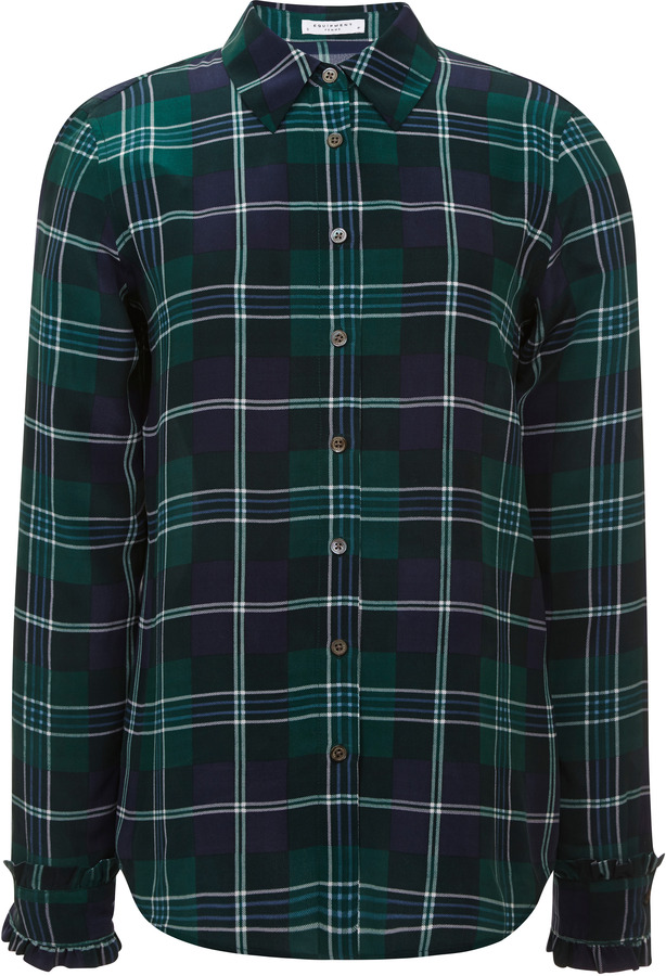 Equipment harrison plaid washed silk shirt where to buy for Womens green checked shirt