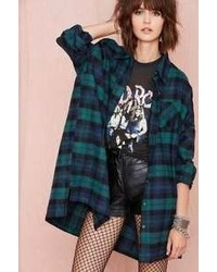Nasty Gal Factory Get Down Button Up Green