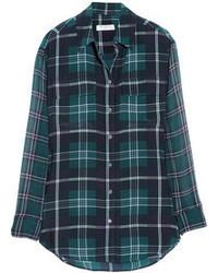 Signature plaid washed silk and chiffon shirt medium 66986
