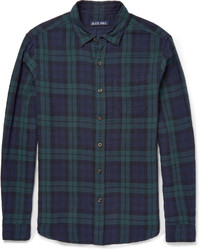 Navy and Green Plaid Long Sleeve Shirt