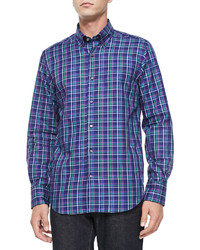 Neiman Marcus Button Down Plaid Shirt Navypurplegreen