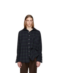 Matthew Adams Dolan Navy And Green Oversized Oxford Shirt