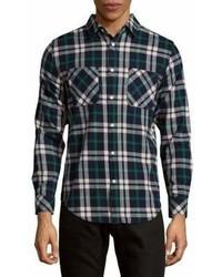 Plaid cotton button down shirt medium 6983774