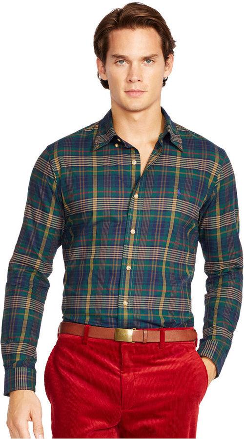 1de68c9fa Plaid Twill Shirt. Navy and Green Plaid Long Sleeve Shirt by Polo Ralph  Lauren