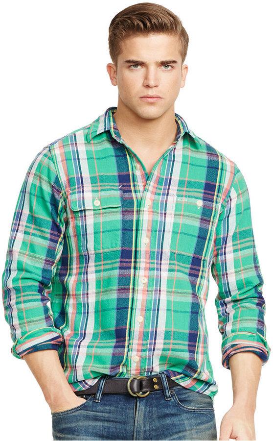 61df6a820 ... Navy and Green Plaid Long Sleeve Shirts Polo Ralph Lauren Plaid Twill  Workshirt ...