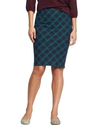 Navy and Green Plaid Pencil Skirt