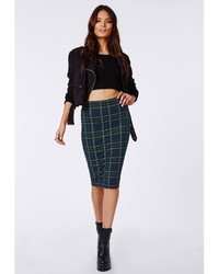 Missguided Corine Tartan Jersey Midi Skirt Navy | Where to buy ...