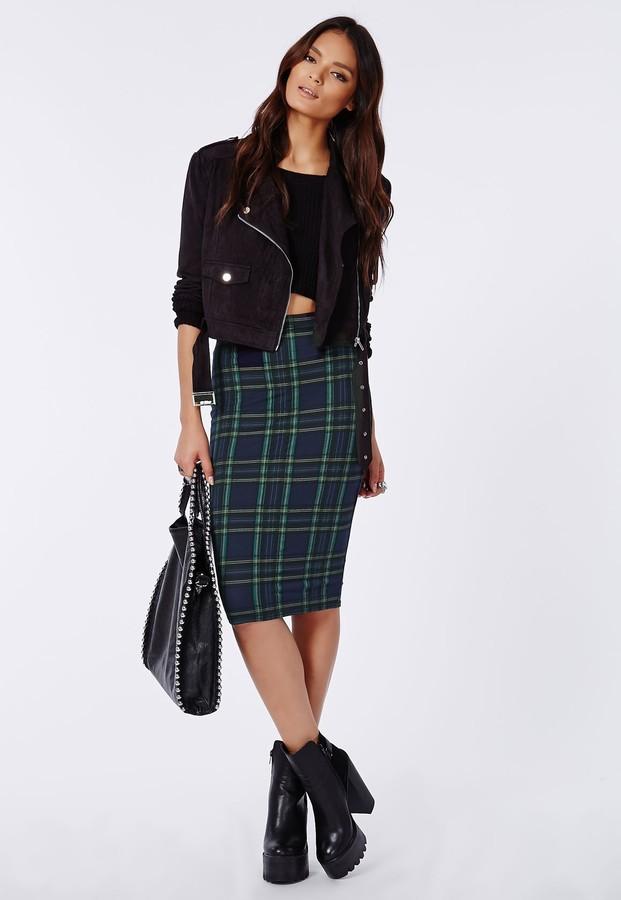 missguided corine tartan jersey midi skirt navy where to