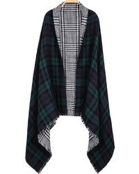 Check print fringe scarf medium 165890