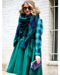 Choies Green And Navy Plaid Raw Edge Scarf
