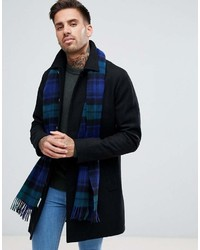Heroso wool check scarf in navy blackwatch medium 6983845