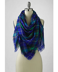Classic Oversized Plaid Square Scarf  Navy Colorblockxxl