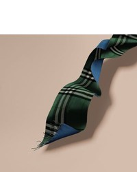 Burberry Reversible Check Cashmere And Block Colour Scarf