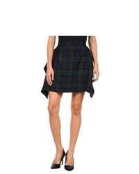 Navy and Green Plaid Skater Skirt