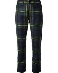 Navy and Green Plaid Skinny Pants