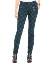 Juniors plaid skinny pants medium 110399