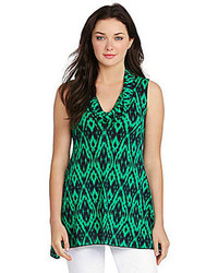 Navy and Green Print Sleeveless Top