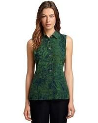 Brooks brothers sleeveless silk bengali print blouse medium 61063