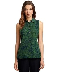 Navy and green sleeveless top original 4004005