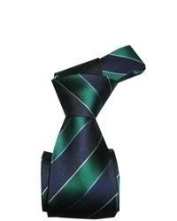 Dmitry Green And Blue Striped Italian Silk Tie