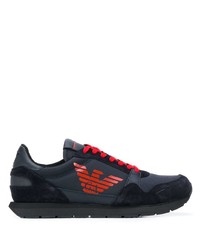 Emporio Armani Mesh And Suede Panelled Sneakers